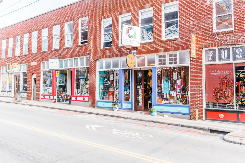 Street view of local stores at Alta Warp + Weft in Charlotte, North Carolina