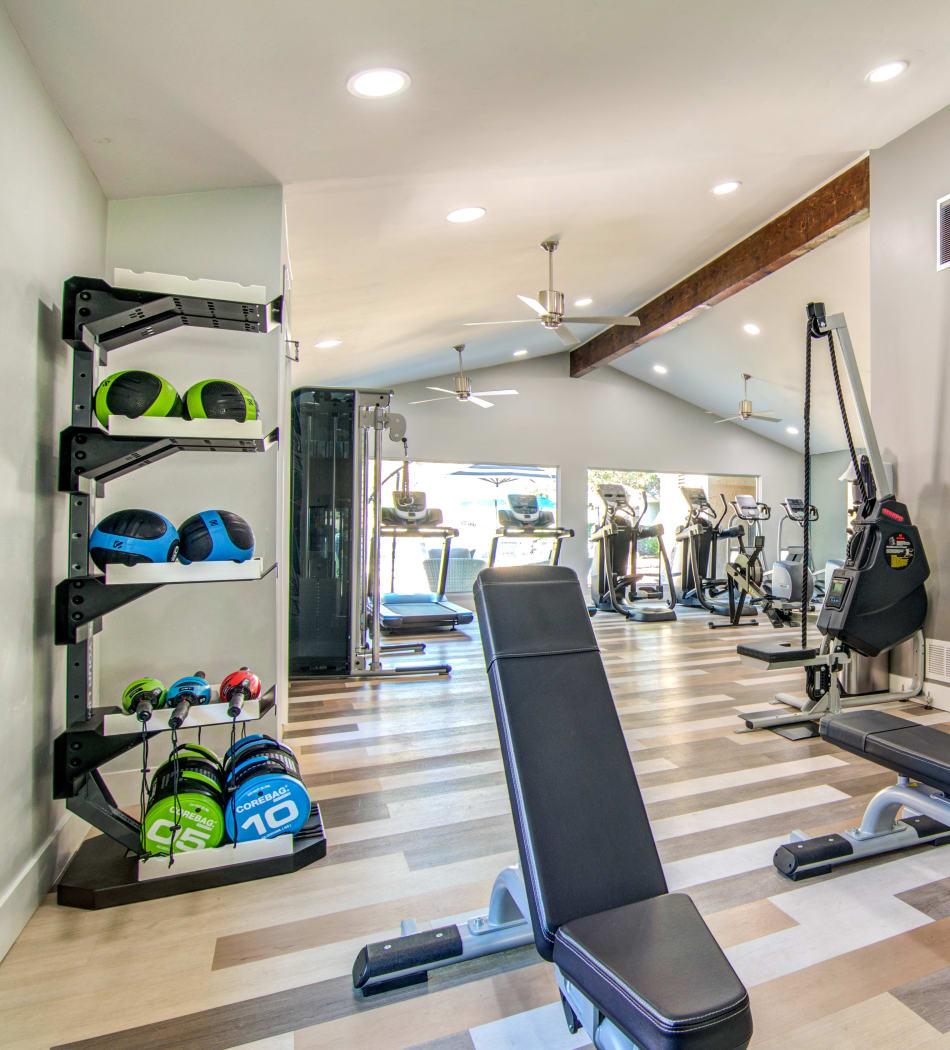 Well-equipped onsite fitness center at Veranda La Mesa in La Mesa, California