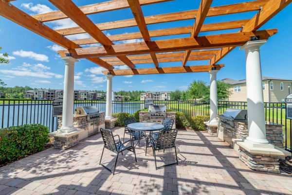 Backyard whit a lake view at Integra Woods in Palm Coast, Florida