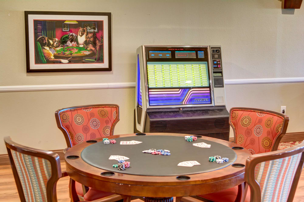 A card table in the game room at The Wentworth of Las Vegas in Las Vegas, Nevada