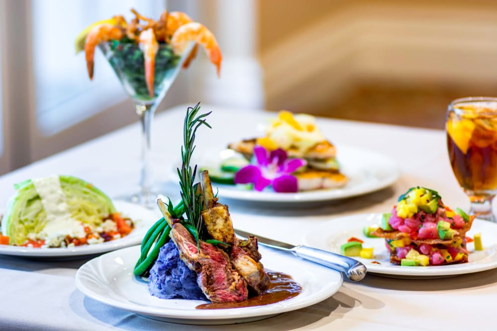 four examples of the kinds of meals at The Meridian at Boca Raton in Boca Raton, Florida