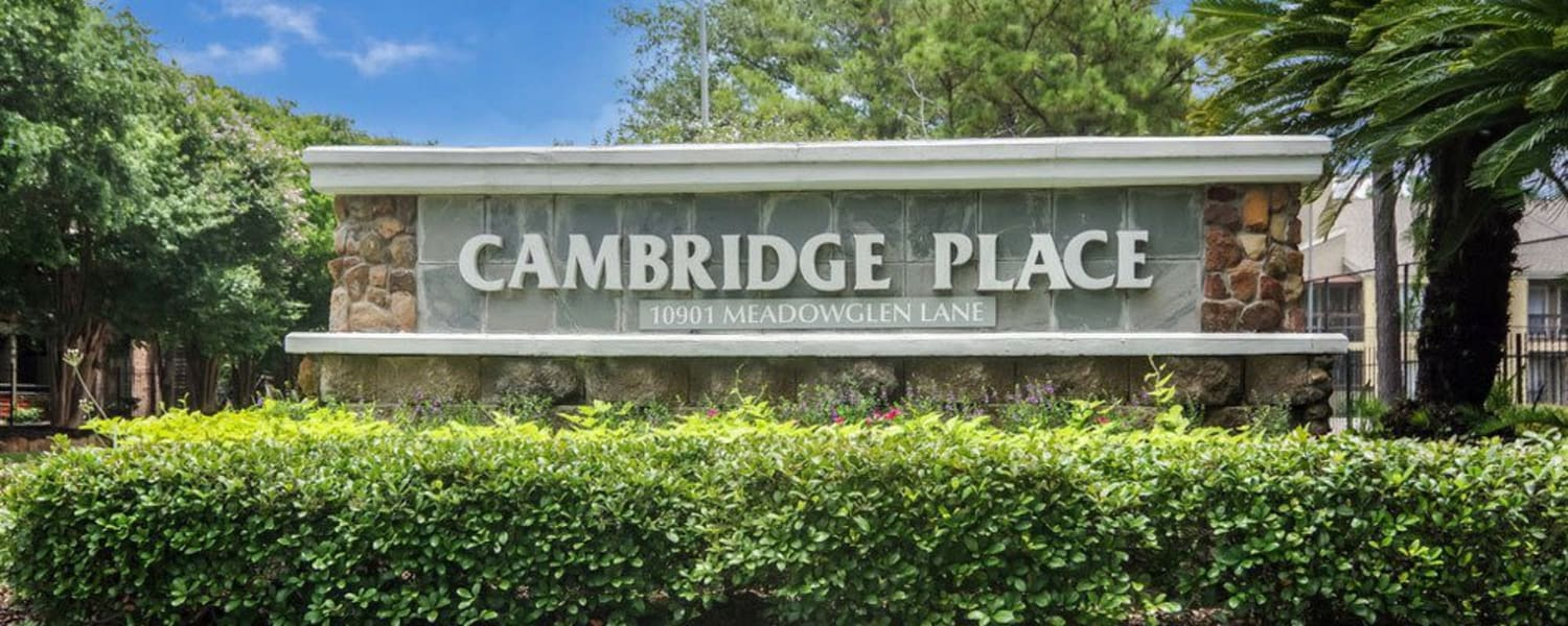 Community sign at Cambridge Place in Houston, Texas.
