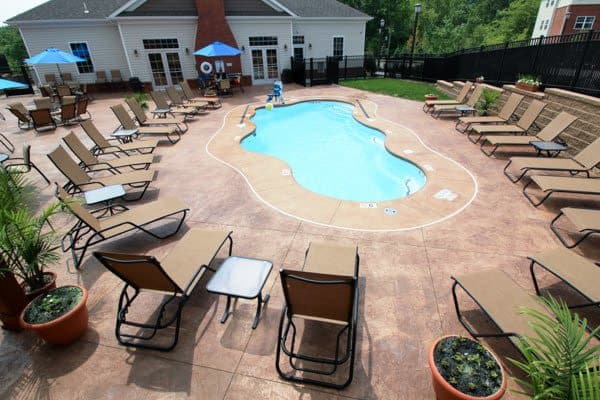 Sparkling swimming pool at Torrente Apartment Homes in Upper St Clair, Pennsylvania