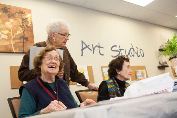 Residents enjoying the fun art studio at Arbour Square of Harleysville in Harleysville, Pennsylvania