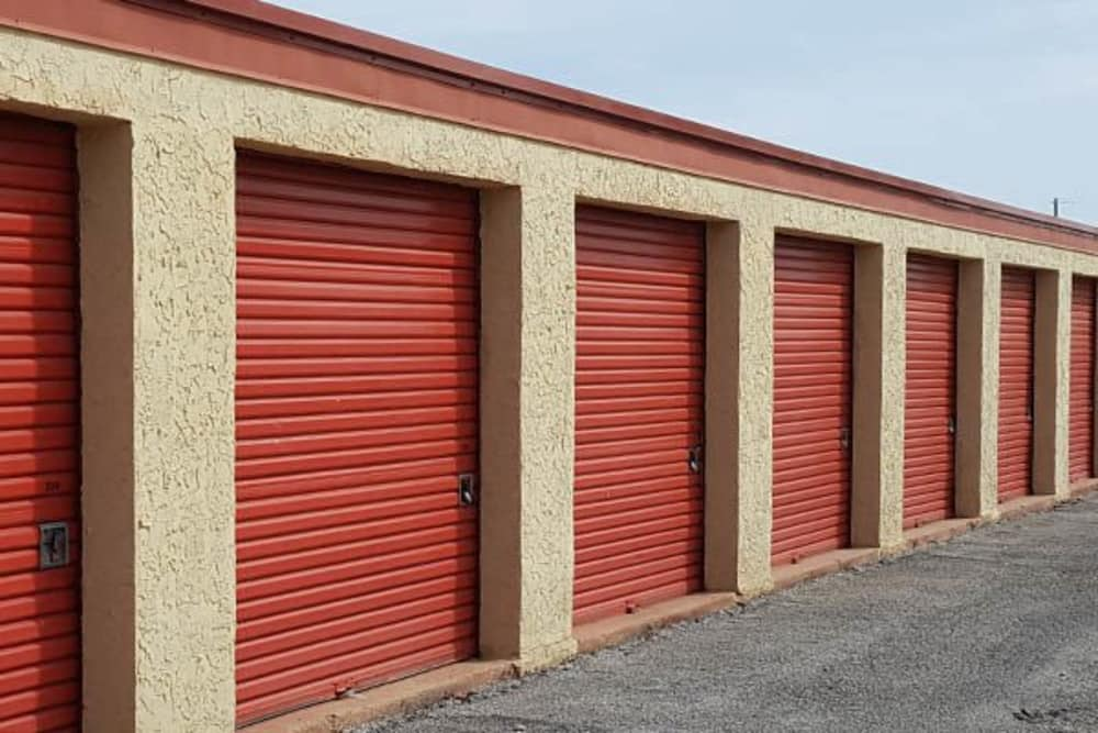 Red Storage Doors With Locks at U-Store-It in Lovington, NM