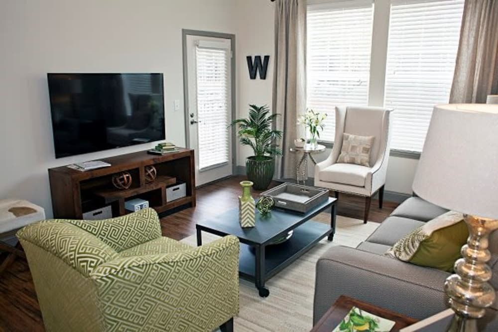 Watercourse Apartments offers a modern living room in Graham, North Carolina