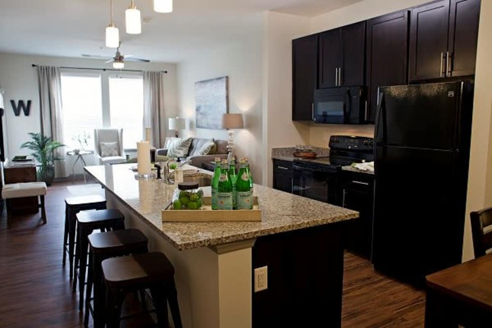 Watercourse Apartments offers a beautiful kitchen in Graham, North Carolina