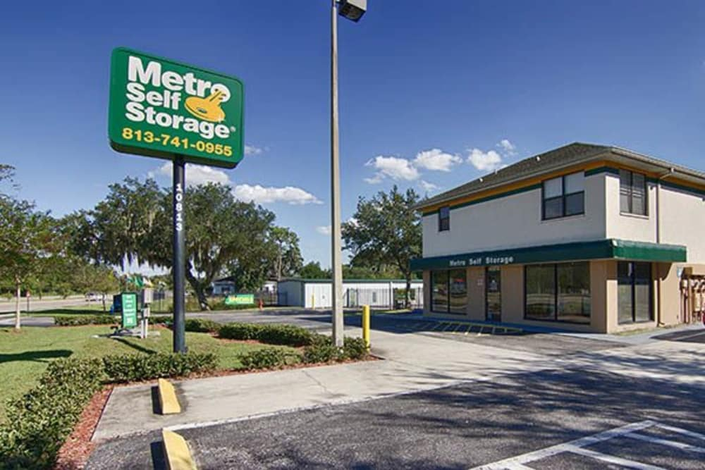 Front entrance at Metro Self Storage in Riverview, FL