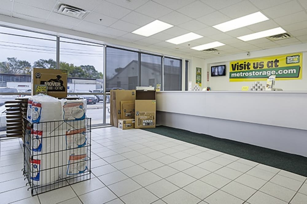 Office interior with packing and moving supplies for sale at Metro Self Storage in Chicago, Illinois