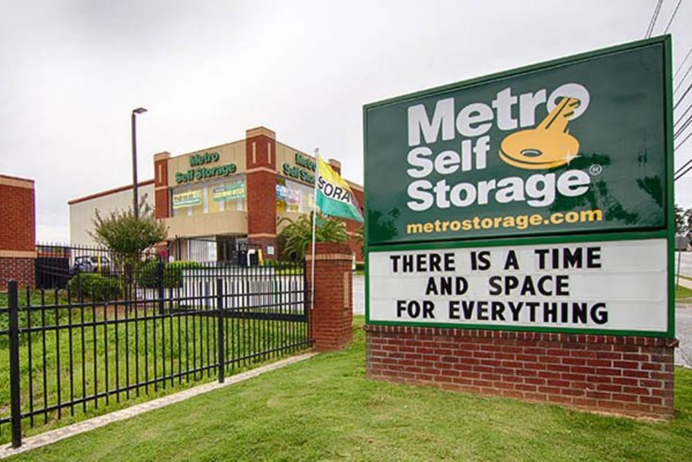 Entrance monument sign at Metro Self Storage in Lawrenceville, Georgia