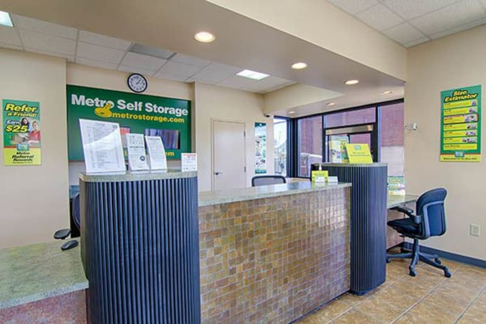 Office at Metro Self Storage in Rex, GA offers packing and moving supplies