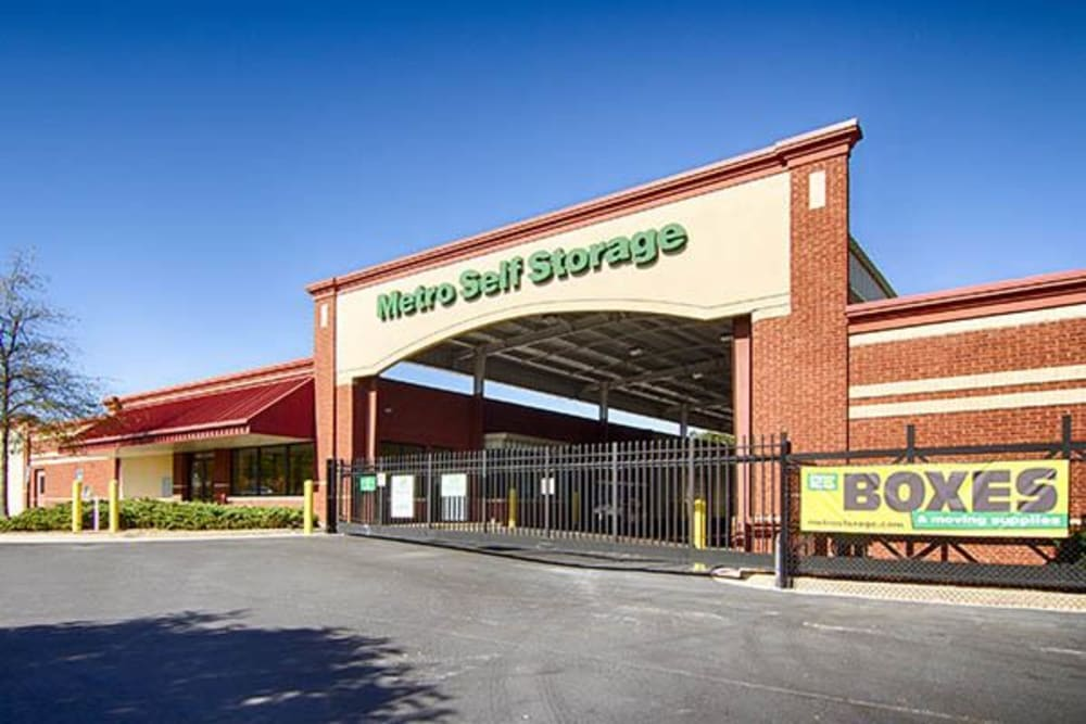 Front entrance at Metro Self Storage in Rex, GA
