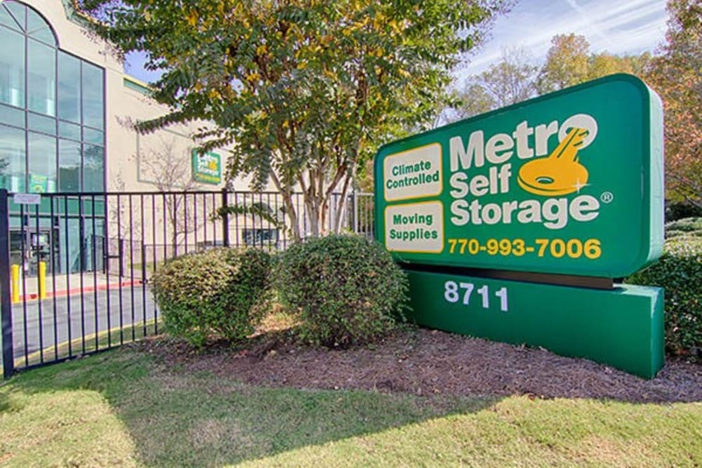 Facility signage at Metro Self Storage in Sandy Springs, Georgia