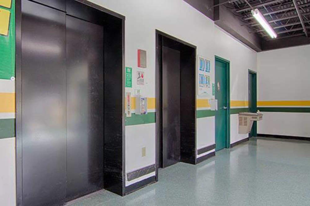 Elevator access in hallway at Metro Self Storage in Sandy Springs, Georgia