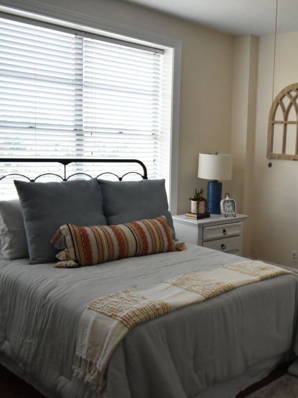A freshly made bed at Parkview in Memphis, Tennessee