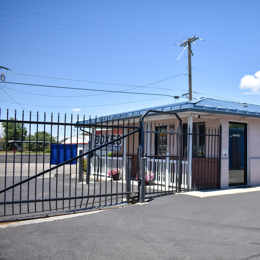 The secure front gate at STOR-N-LOCK Self Storage in Boise, Idaho