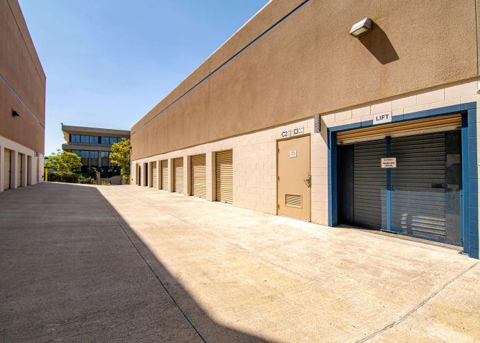 A driveway between storage units at Sorrento Valley Self Storage in San Diego, California