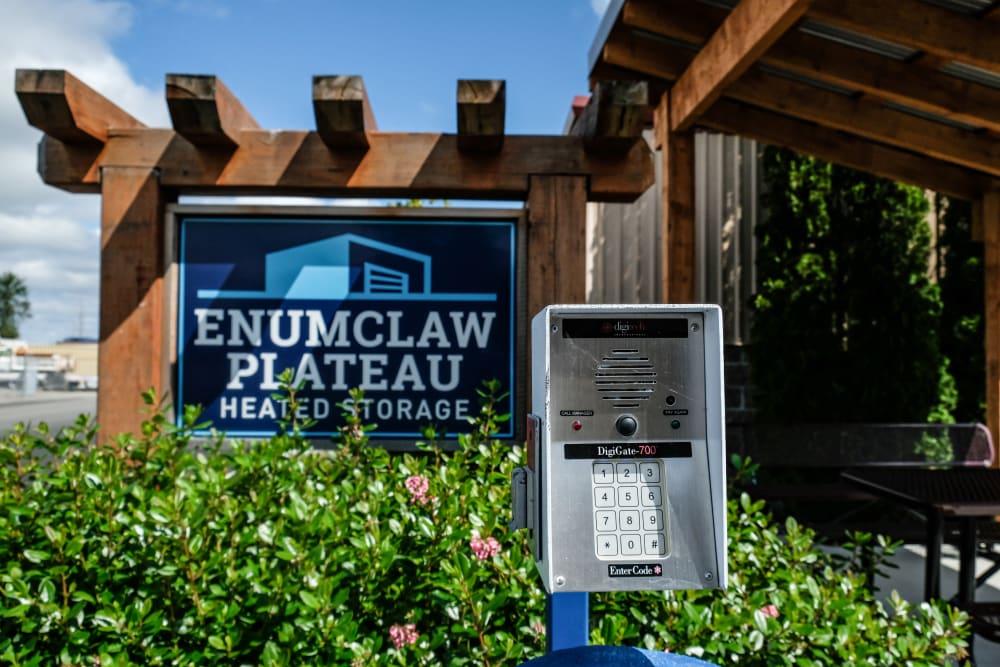 Signage and keypad security kiosk at Urban Self Storage Enumclaw - Phase II