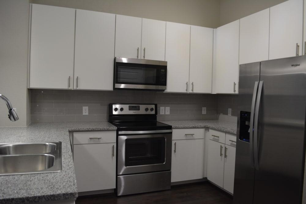 Modern style kitchen at The Abbey at Sonterra in San Antonio, Texas