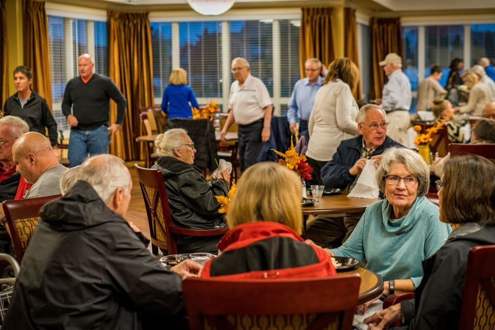 Residents gathered in the dining room at Welbrook at Bloomington in Bloomington, Illinois