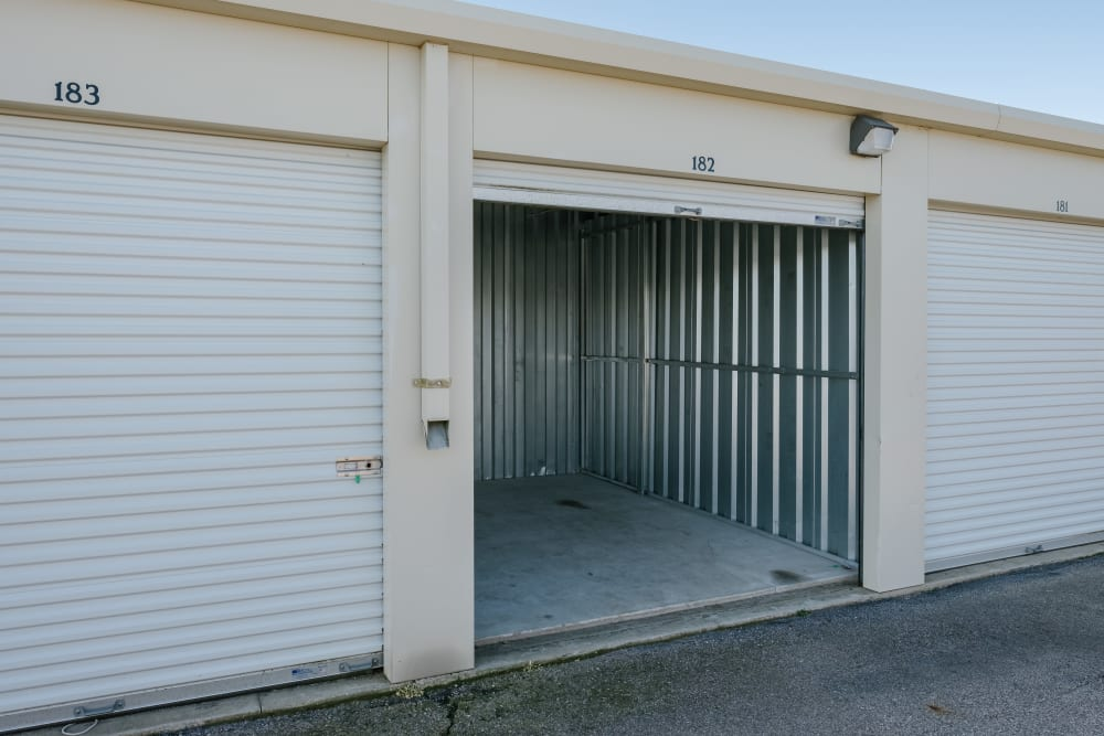 Roll-up doors on self storage units at StayLock Storage in Saint Joseph, Michigan
