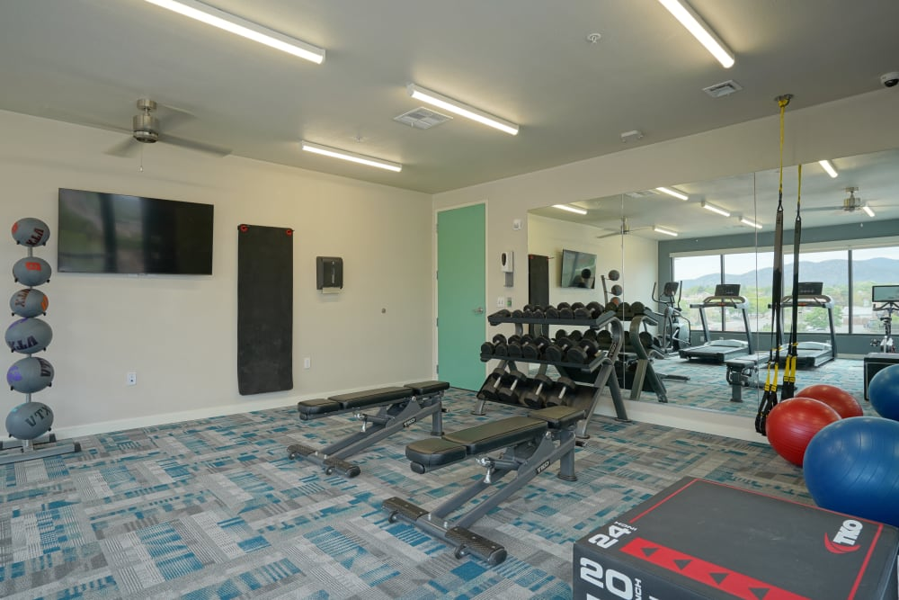 Well-equipped onsite fitness center at Capitol Flats in Santa Fe, New Mexico