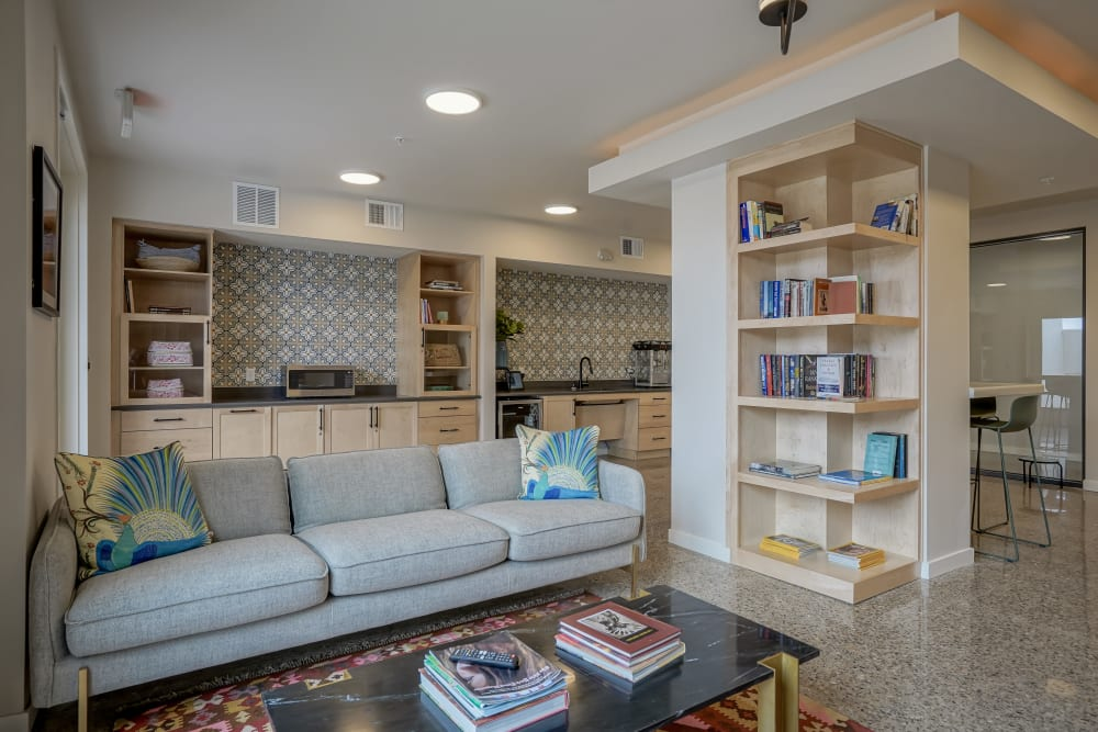 Modern architecture and decor in the resident clubhouse at Capitol Flats in Santa Fe, New Mexico