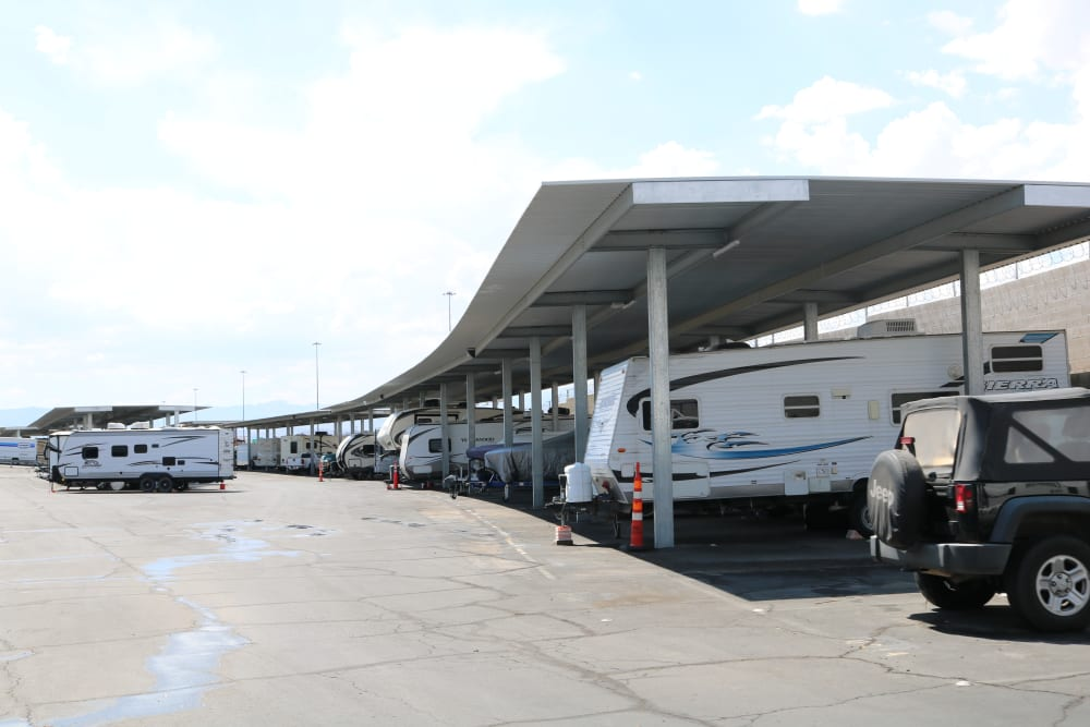 Many RVs and vehicles parked long-term at Best Storage in Henderson, Nevada