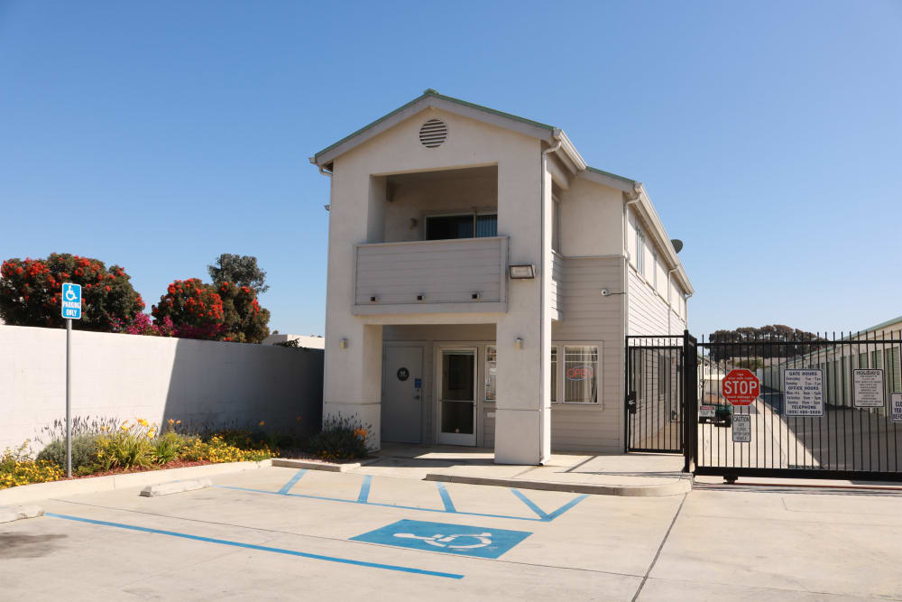 Leasing office and gated front entrance at Channel Islands Self Storage in Port Hueneme, CA