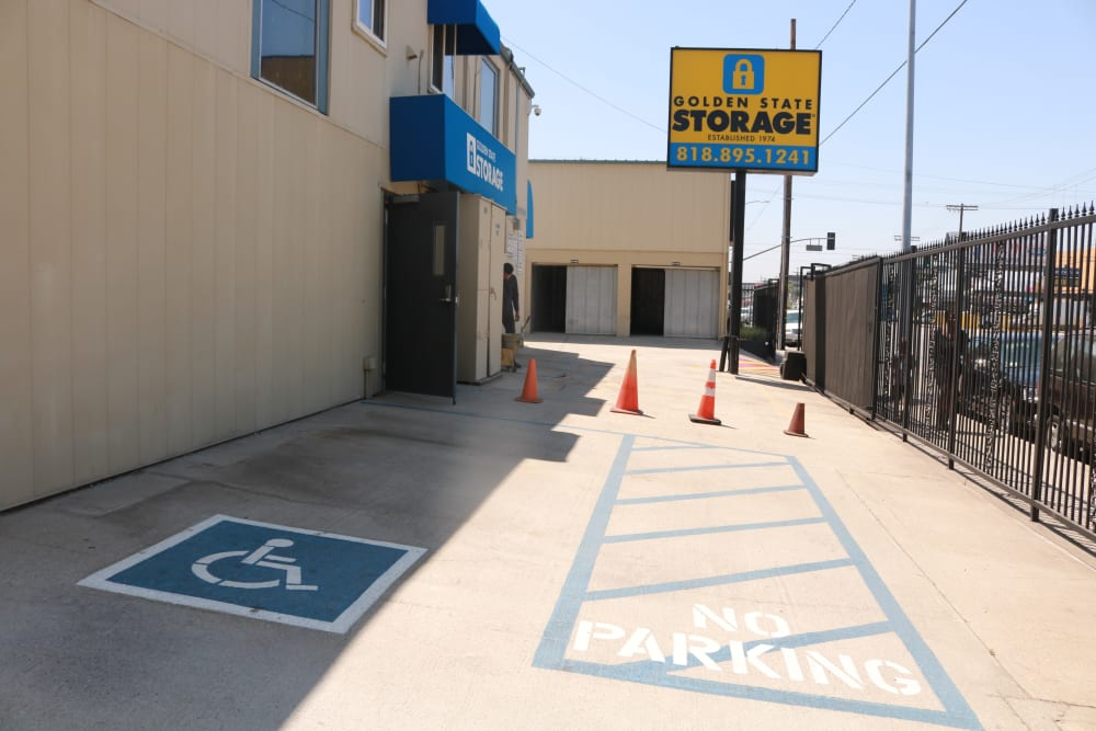 Handicap parking at our storage facility on Sepulveda Boulevard in North Hills