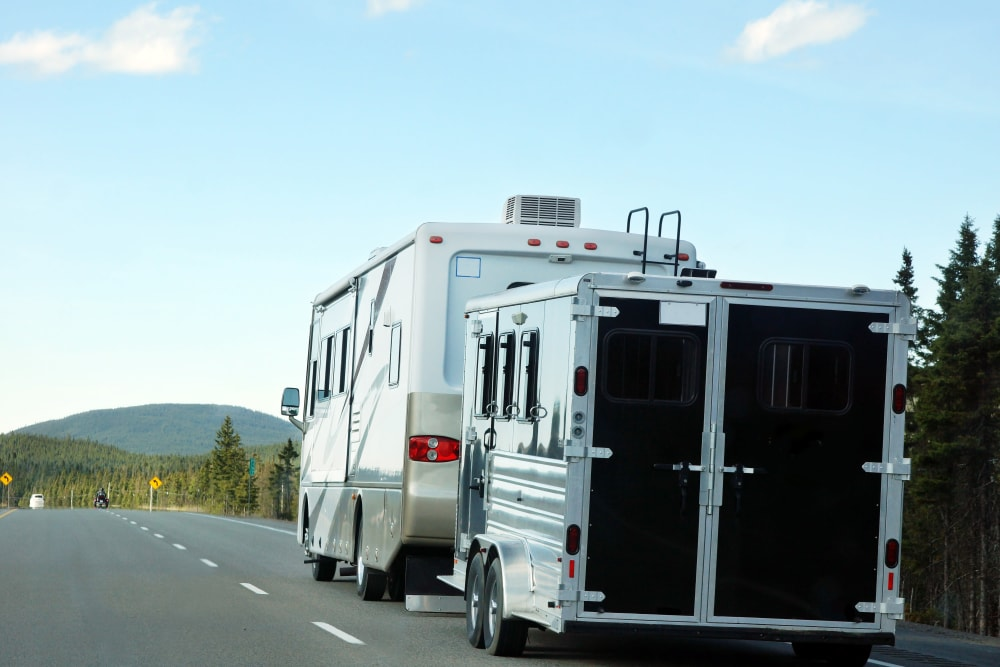 An RV and a trailer out of storage at Parkside Mini Storage and RV in Beaverton, Oregon