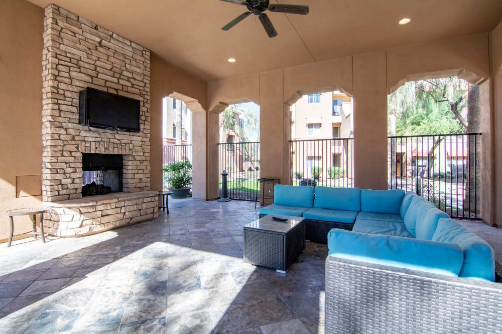 Outdoor lounge at apartments in Surprise, Arizona