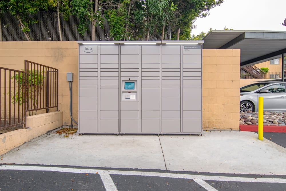 The convenient package lockers at Hillside Terrace Apartments in Lemon Grove, California
