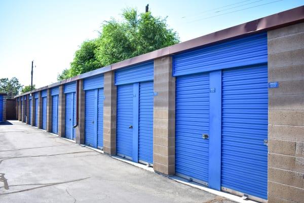 Blue doors on exterior storage units at STOR-N-LOCK Self Storage in West Valley City, Utah