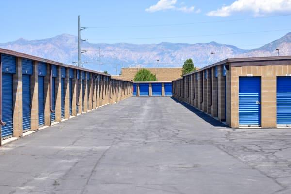 Mountain views behind exterior storage units at STOR-N-LOCK Self Storage in Riverdale, Utah