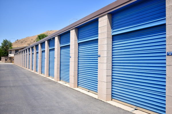 Bright blue exterior storage unit doors at STOR-N-LOCK Self Storage in Salt Lake City, Utah