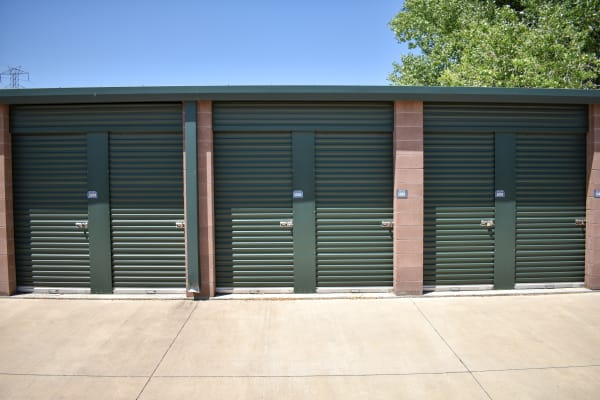 Six small storage units side by side at STOR-N-LOCK Self Storage in Henderson, Colorado