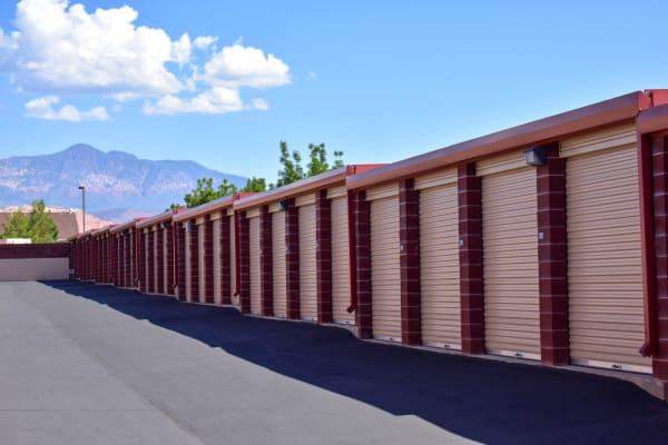 Mountain views behind exterior storage units at STOR-N-LOCK Self Storage in Hurricane, Utah