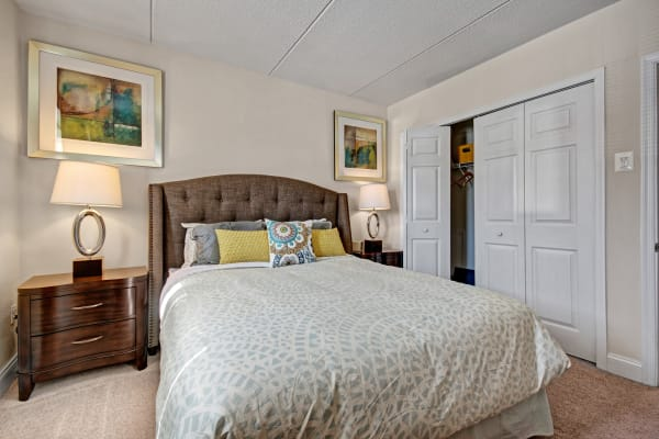 Plenty of space for storage in a model apartment bedroom at Golf Club Apartments in West Chester, Pennsylvania