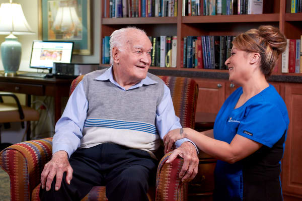 Resident and caregiver at Anson Senior Living in Zionsville, Indiana