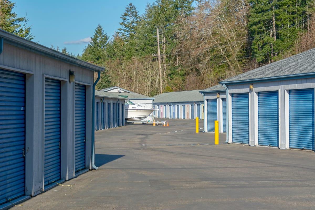 Clean exterior storage units at Glacier West Self-Storage in Belfair, Washington