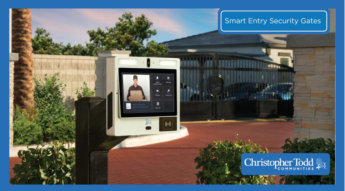 Smart entry security gate at Christopher Todd Communities On Camelback in Litchfield Park, Arizona