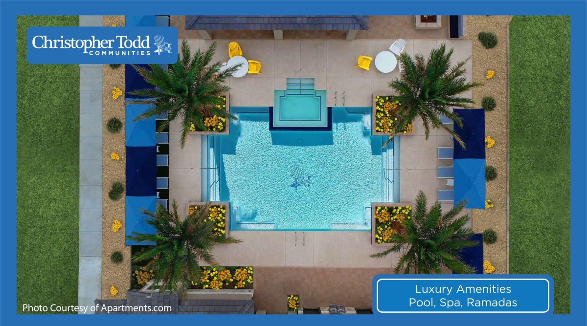 Aerial view of the resort style pool at Christopher Todd Communities On Camelback in Litchfield Park, Arizona