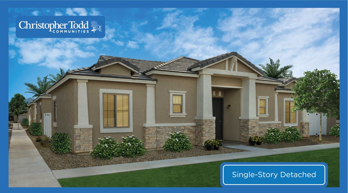The front exterior of one of the beautiful homes at Christopher Todd Communities On Camelback in Litchfield Park, Arizona