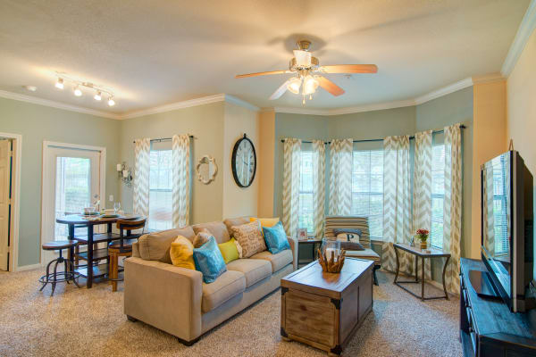 Spacious living room at Park Hudson Place in Bryan, Texas