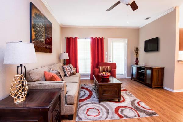 Beautiful living room at Villas of Preston Creek in Plano, Texas