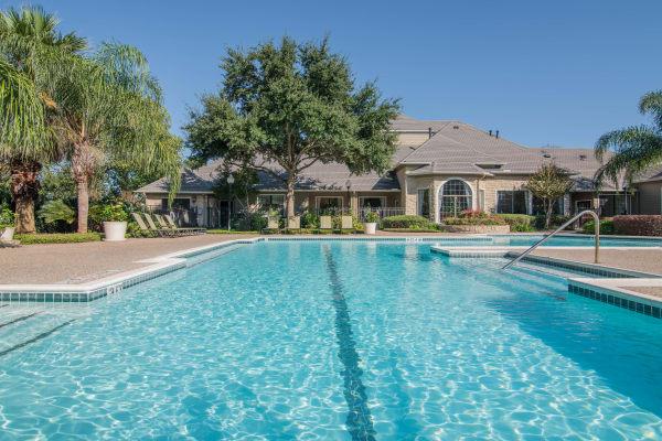 Swimming pool at Thornbury Apartments in Houston, TX