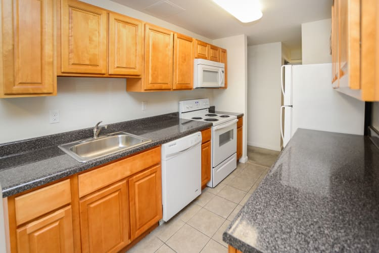 Westminster Towers Apartment Homes offers a modern kitchen in Elizabeth, New Jersey