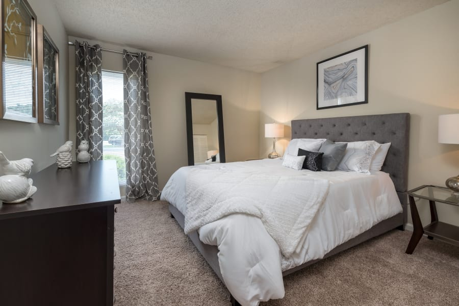 Beautiful bedroom at apartments in Richmond, Virginia