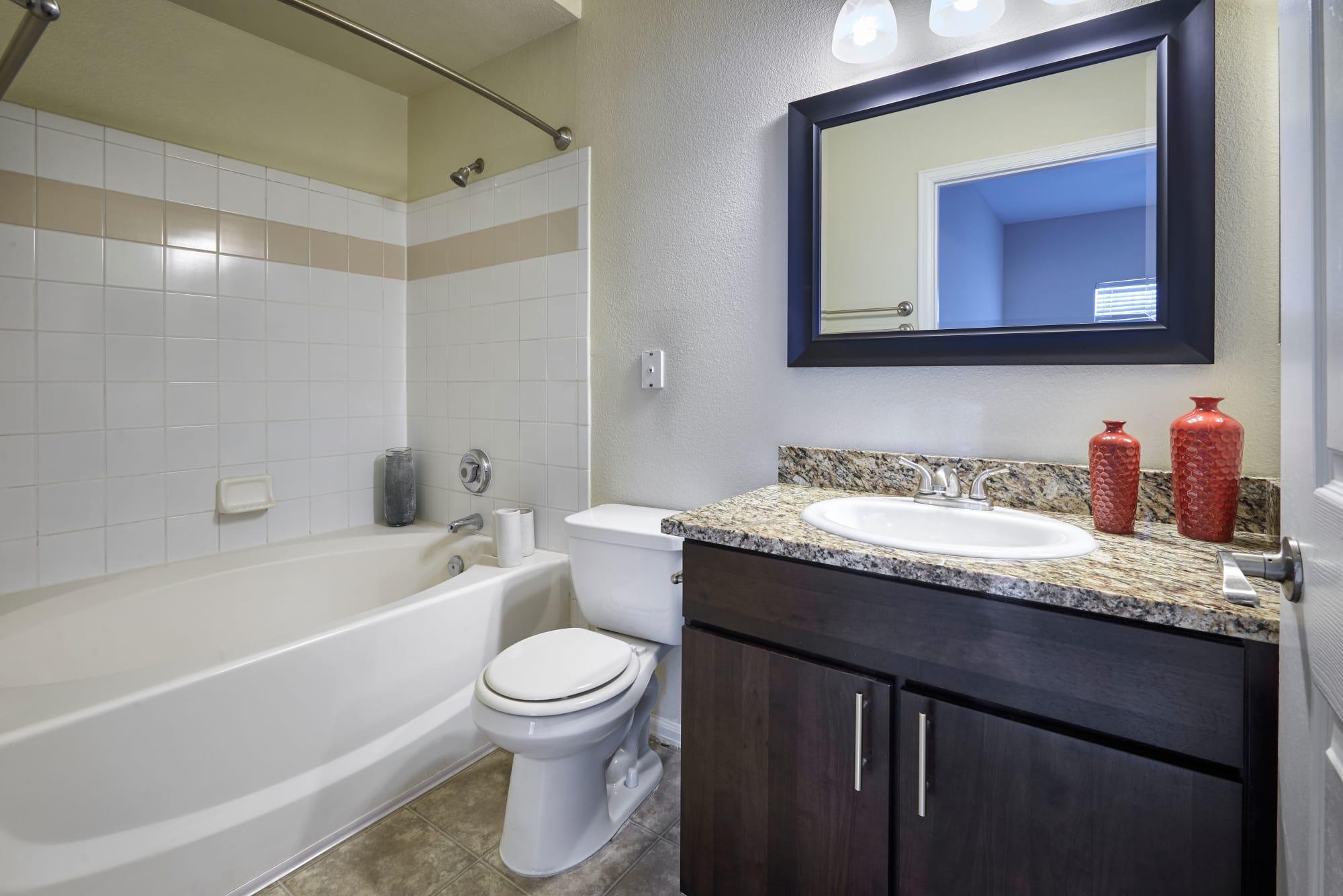 bathroom and tub - model home